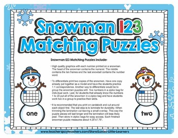 Snowman 1-2-3 Matching Puzzles {Winter Activities}