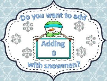 Snowman Addition Adding 0 FREEBIE