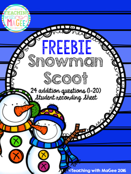 Snowman Addition Scoot Game