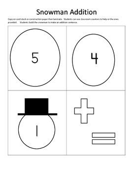 Snowman Addition facts to 5, math centers, math games, mat