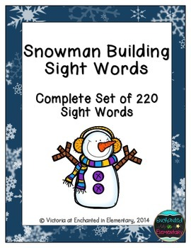 Snowman Building Sight Words! Complete Set of 220 Sight Words