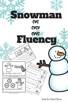 Snowman CVC, CVCV, CVVC Fluency