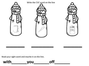 Snowmen CVC words and sight words
