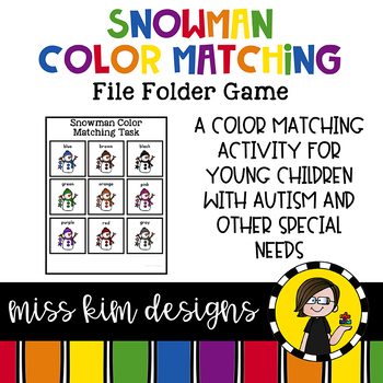 Snowman Color Matching Folder Game for students with Autism