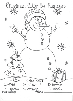Snowman Color by Number Printable and More!