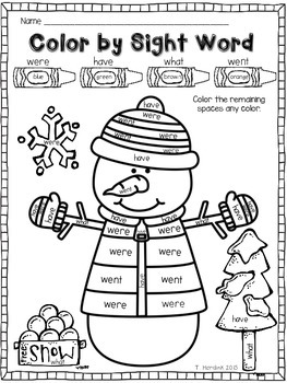 Snowman - Color by Sight Word