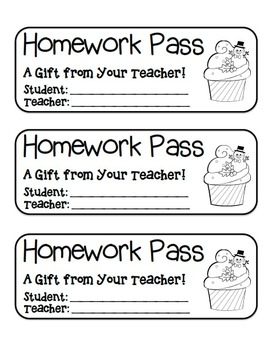 """Snowman Cupcake"" Homework Pass –Holiday FUN! (black line"