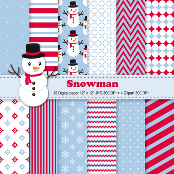Snowman Digital Paper + Clipart
