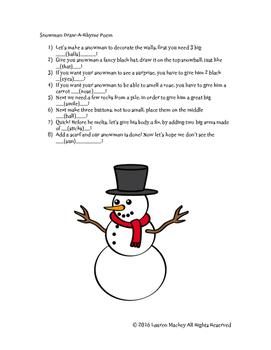 Snowman Draw a Rhyme Poem
