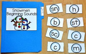 Snowman File Folder Game:  Snowman Beginning Sounds