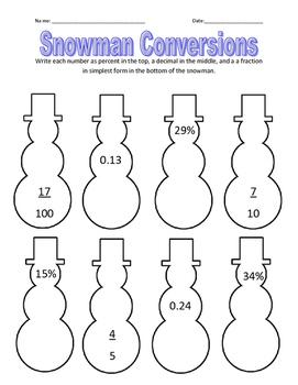 Winter Snowman Fraction, Decimal, Percent Conversions