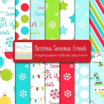 Snowman Friends Digital Paper Pack 12x12