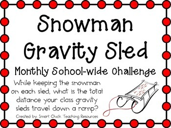 Snowman Gravity Sleds ~ Monthly School-wide Science Challe
