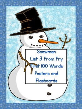 Snowman List 3 From  Fry First 100 Sight Word Posters and