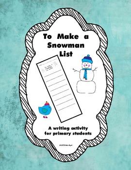 FREEBIE!  To Make a Snowman List
