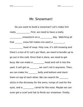Snowman Madlib