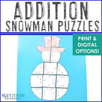Snowman Math Centers: Addition Puzzles