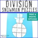 Snowman Math Centers: Division Puzzles