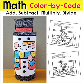 Snowman Math Color by Code 3D Character: Winter Math Free