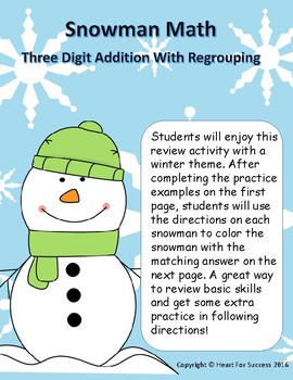 Snowman Math: Three Digit Addition With Regrouping