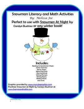 Snowmen at Night or any winter book! Literacy and Math Activities