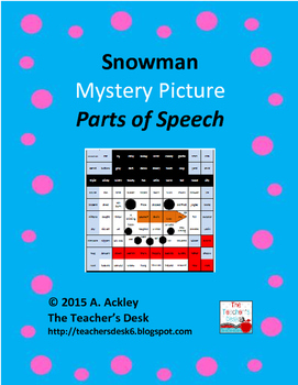 Snowman Mystery Picture Parts of Speech