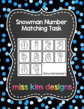 Snowman Number Matching Folder Game for Early Childhood Sp