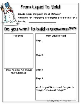 Snowman Science: From Liquid to Solid Experiment {Matter}