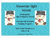Snowman Sight Words For Kindergarten