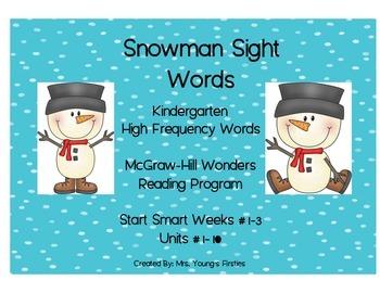 Snowman Sight Words For Kindergarten