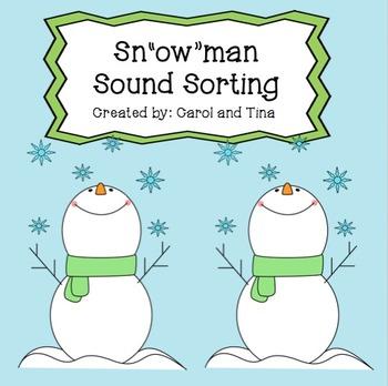 """OW"" Vowel Practice:  Snowman Sorting Morning Work"