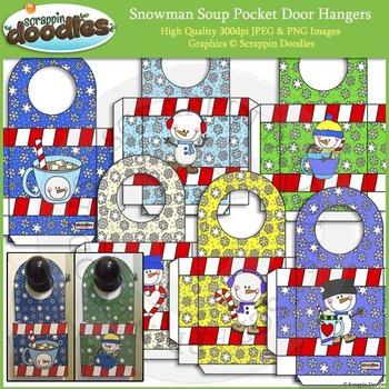 Snowman Soup Pocket Door Hangers Printable Craft