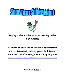 Snowman Subtraction: Double Digit Subtraction