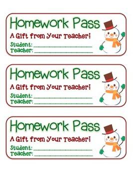 """Snowman Waving"" Homework Pass –Holiday FUN! (full color &"