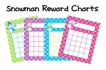 Snowman Winter Incentive Reward Charts