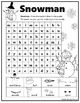 Snowman Word Search  ~ Primary Version with Pictures