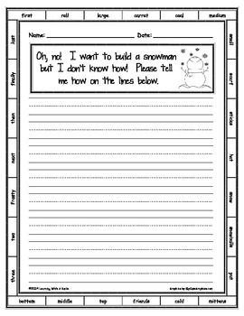 Snowman Writing Activity ~ Freebie ~ Great for Writing Centers!