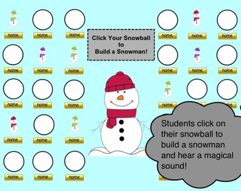 Snowman and Winter Themed SMART Board Attendance Activity