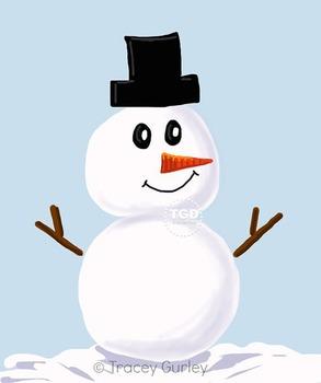 Snowman clip art - Winter Clip Art, Printable Tracey Gurle