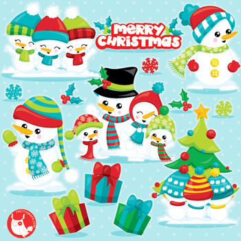 Snowman family clipart commercial use, vector graphics, di