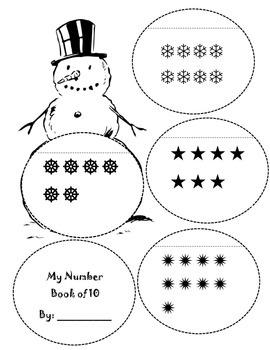 Snowman math book of 10