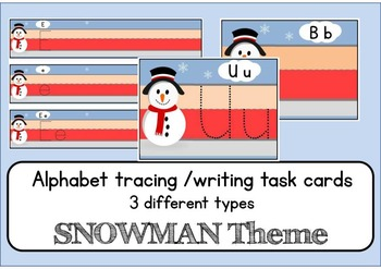 Snowman winter Alphabet letter tracing writing cards & worksheets