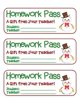 """""""Snowman with Bowtie"""" Homework Pass –Holiday FUN! (full co"""