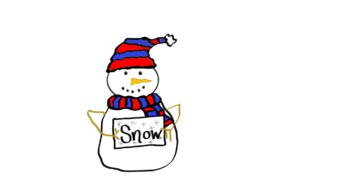 Snowman with SNOW sign doodle