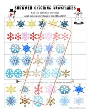 Snowmen Catching Snowflake AB Patterns 1st Grade