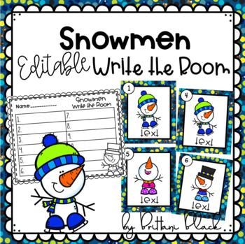 Snowmen~ Editable Write the Room