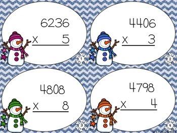 Snowmen Multiplication: 4 Digits by 1 Digit Task Cards