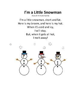 Snowmen Songs for Preschool Freebie