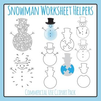 Snowmen Worksheet Helpers Clip Art Pack for Commercial Use