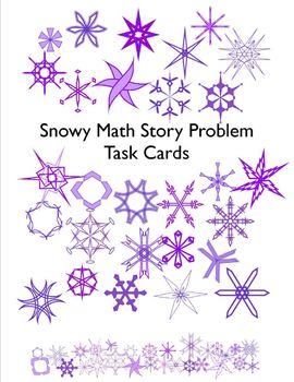 Snowy Math Story Problem Task Cards